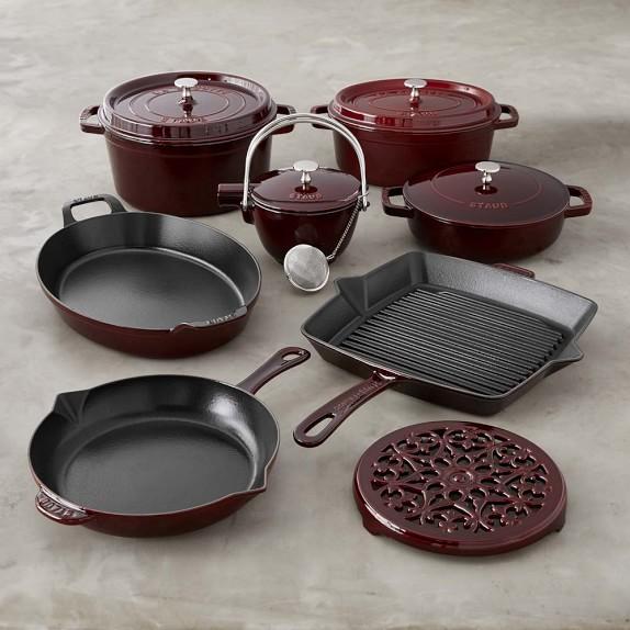 Staub Cast-Iron 12-Piece Cookware Set, Grenadine