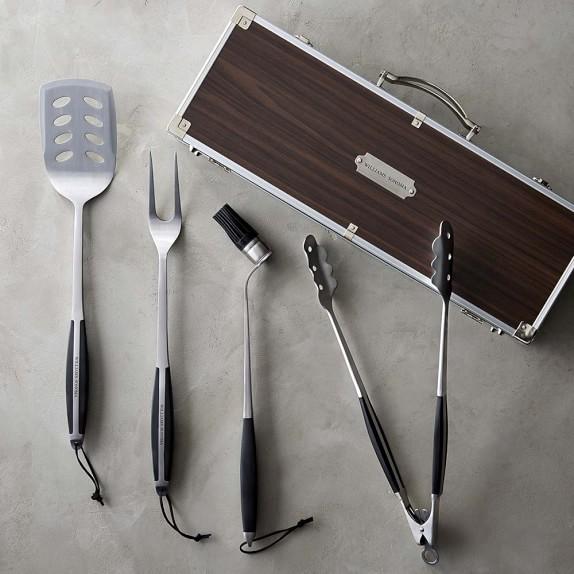 BBQ Tools Set in Wood Box, Set of 4