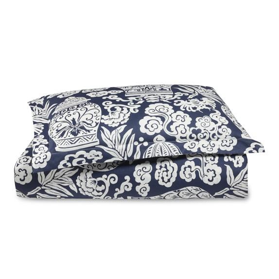 Printed Linen Ginger Jar Bedding, Queen Duvet, Blue