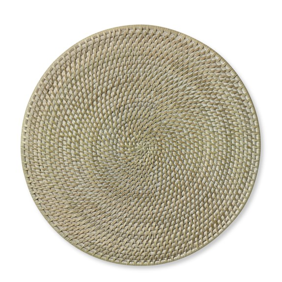 White Wash Woven Hapao Round Place Mat