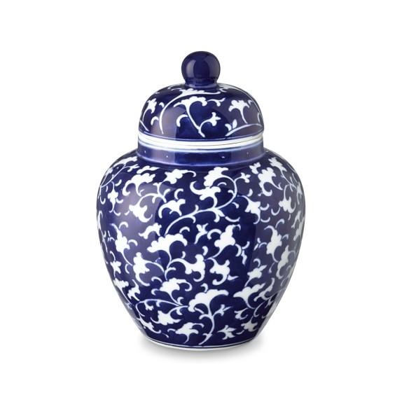 Vine Motif Temple Jar, Blue & White