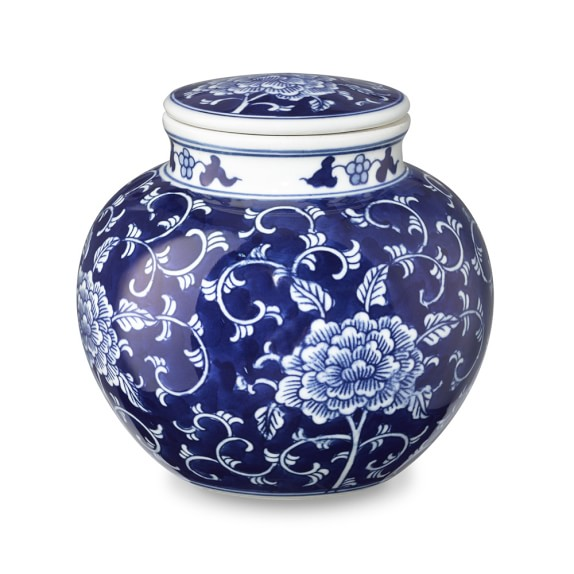 Scroll Motif Petite Ginger Jar, Blue & White