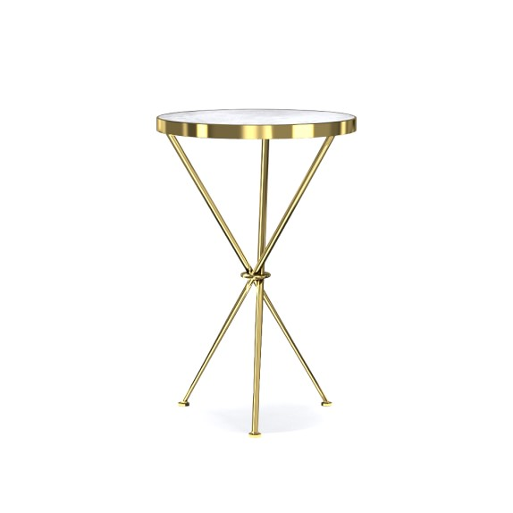 Tripod Accent Table, Marble, Brass