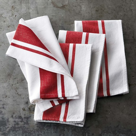 Williams Sonoma Open Kitchen Bold Stripe Lapkins, Set of 4, Red