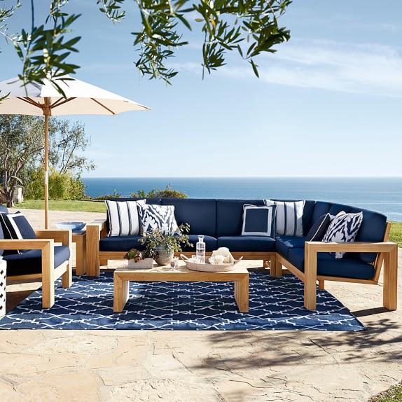 Larnaca Outdoor 3 Piece Teak Sofa Sectional Williams Sonoma
