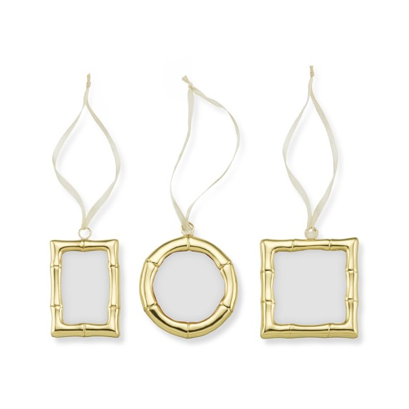 bamboo frame ornaments set of 3 brass
