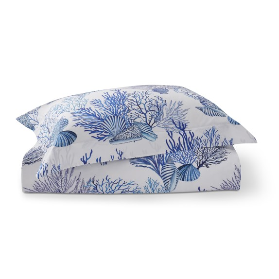 Coral Reef Printed Organic Bedding, Blue   Williams Sonoma