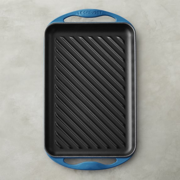 Le Creuset Cast-Iron Rectangular Skinny Grill, Azure Blue