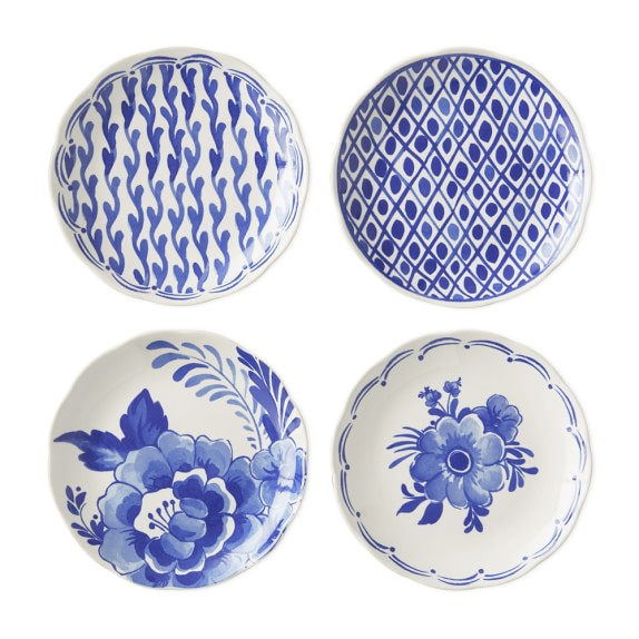 AERIN Sea Blue Appetizer Plates, Set of 4