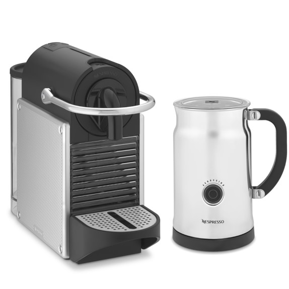 Nespresso Pixie Espresso Maker with Aeroccino Plus Automatic Milk Frother, Electric Titan