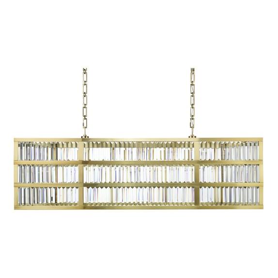 Lamont Linear Crystal Chandelier Antique Brass – Linear Chandelier Crystal