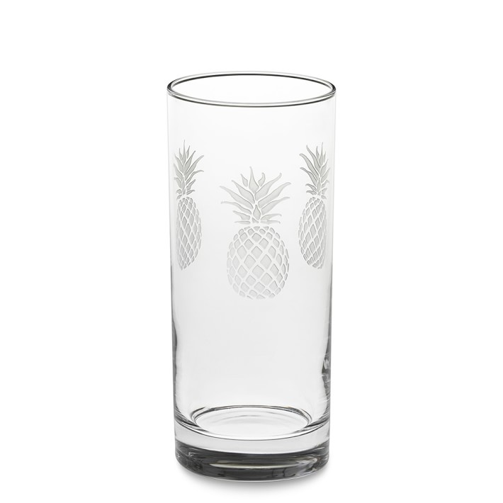 pineapple etched highball glasses set of 4 - Highball Glasses