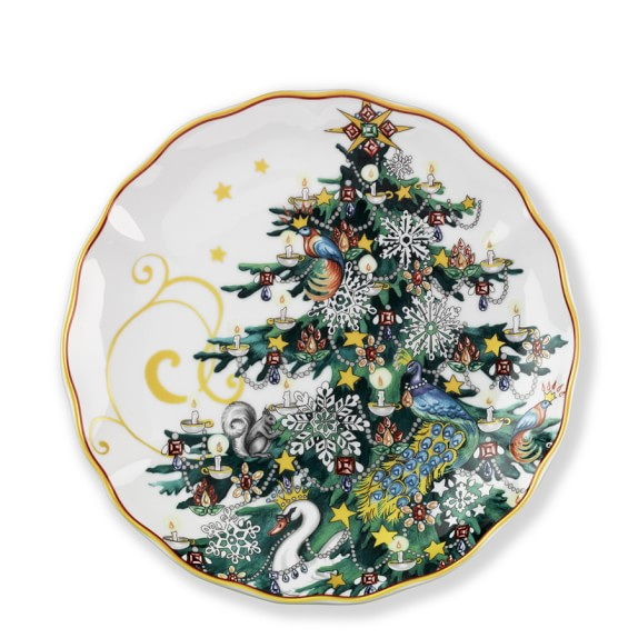 'Twas The Night Before Christmas Salad Plates, Set of 4, Tree