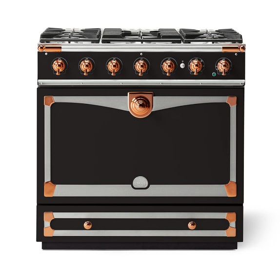 Cornue Fe Albertine Dual-Fuel Range, Matte Black with Stainless-Steel & Polished Copper
