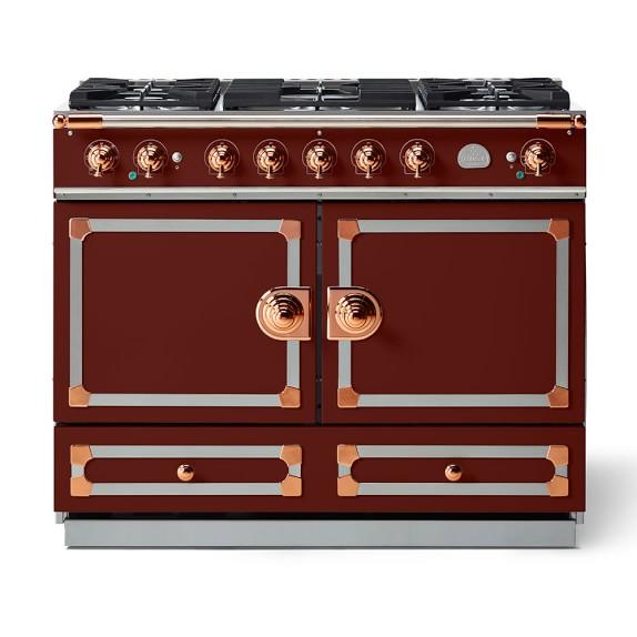Cornue Fe CornuFé Dual-Fuel Range, Burgundy with Stainless-Steel & Polished Copper