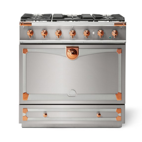 Cornue Fe Albertine Dual-Fuel Range, Stainless-Steel with Stainless-Steel & Polished Copper