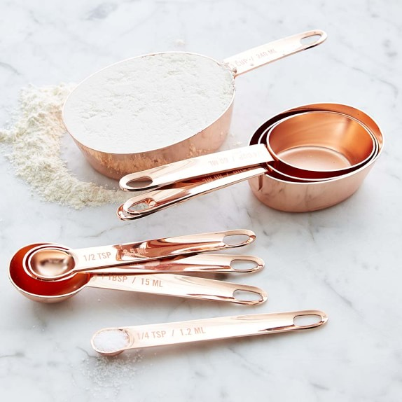 Williams Sonoma Copper Nesting Measuring Cups &Spoons, Regular Size
