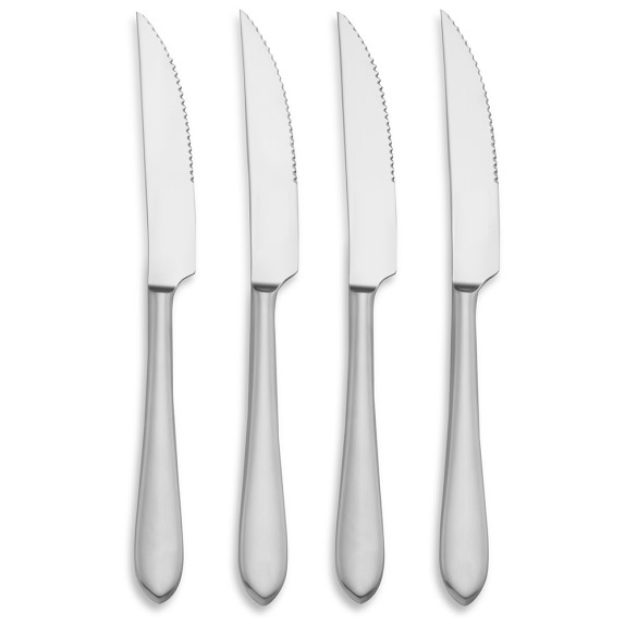 Flute Flatware Steak Knives, Set of 4
