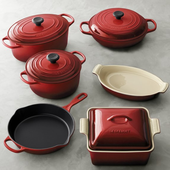Le Creuset Cast-Iron and Stoneware 10-Piece Set, Red