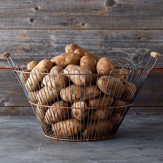 Vintage Potato Basket, Silver