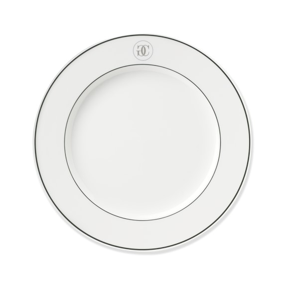 Williams Sonoma Monogram Collection Salad Plates, Set of 4, Silver/Green