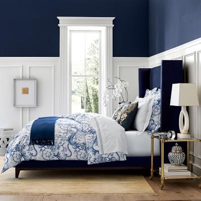 Japanese Wave Printed Bedding Blue Williams Sonoma