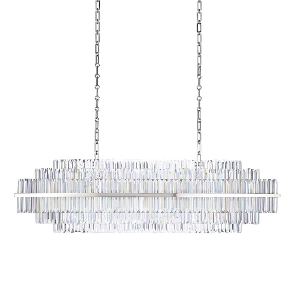 Vienna 52 Linear Crystal Chandelier Polished Nickel – Linear Chandelier Crystal