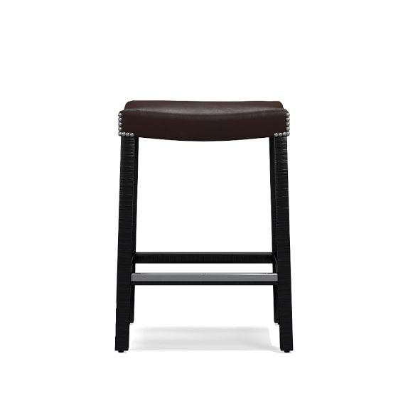 Holly Counter Stool Tuscan Leather, Polished Nickel, Chocolate