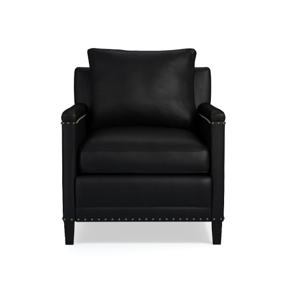 Addison Chair with Standard Cushion, Leather, Solid, Black