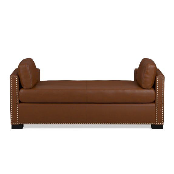 Branden Settee, Standard, Tuscan Leather, Bourbon, Antique Brass
