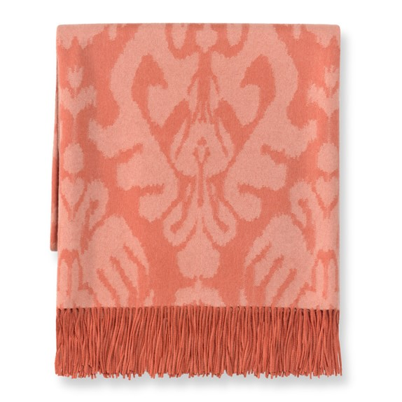 Samarkand Ikat Jacquard Cashmere Throw, Spring Tulip/Blush