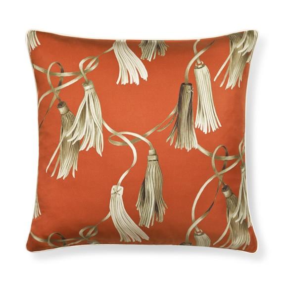 Printed Tassles Silk Pillow Cover, 18