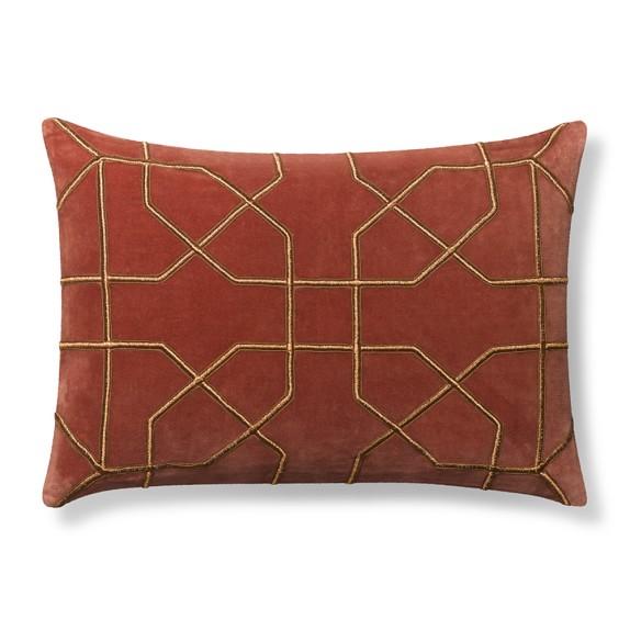 Moorish Tile Embroidered Velvet Pillow Cover, 14