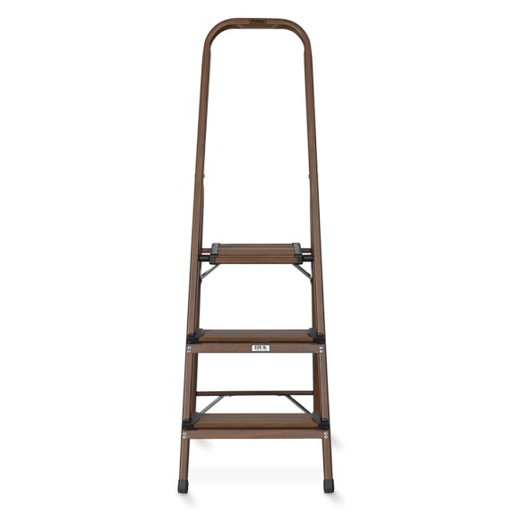3-Step Wood & Aluminum Ladder, Dark Wood Grain