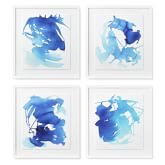 Pacific Blue Abstracts, Set of 4