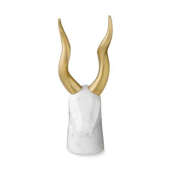 Marble and Brass Gazelle Sculpture