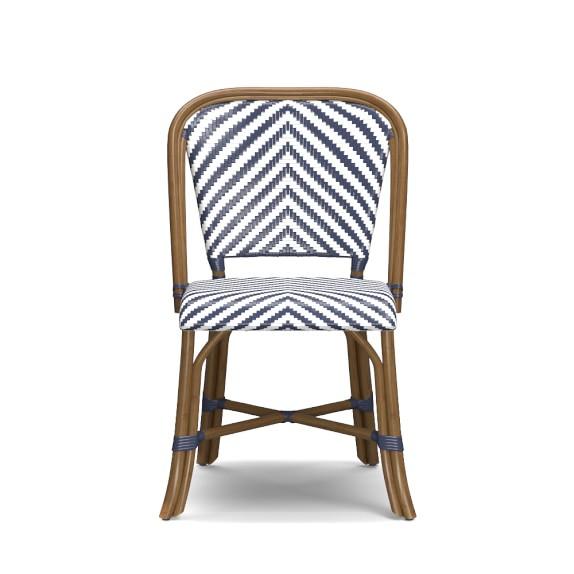 Parisian Bistro Woven Side Chair, Blue/White