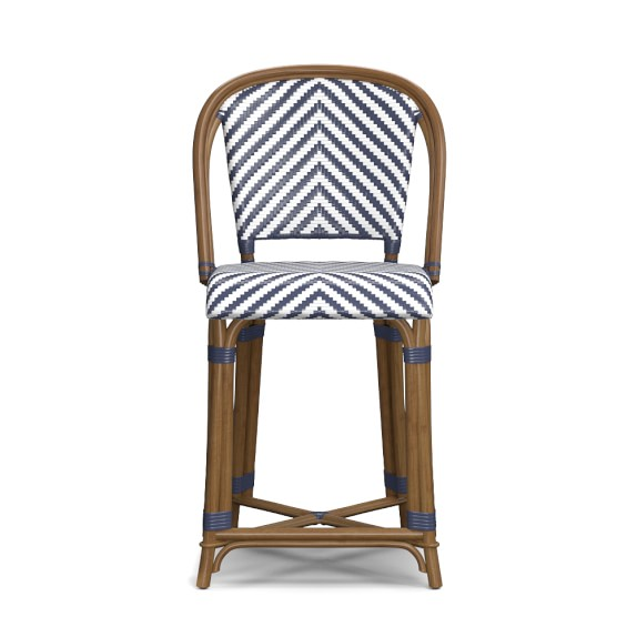 Parisian Bistro Woven Counter Stool, Blue/White