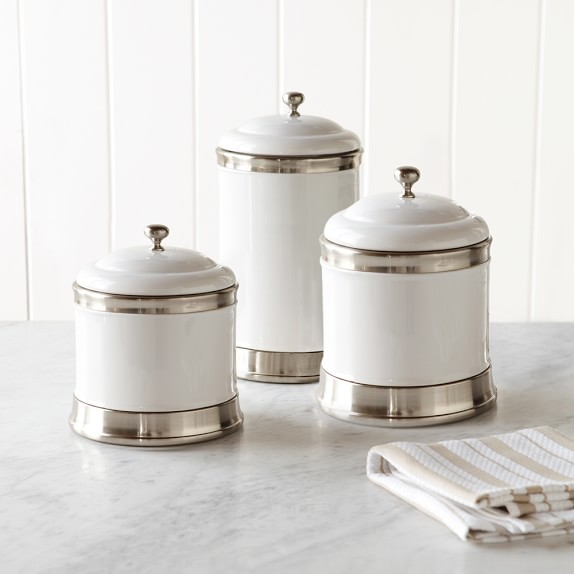 white kitchen canister sets ceramic williams ceramic canisters set of 3 williams sonoma 26219